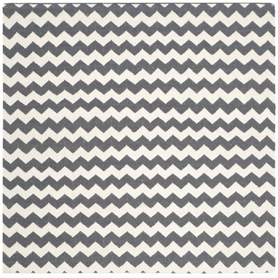 Dhurries Ivory/Charcoal Area Rug Rug Size: Square 6