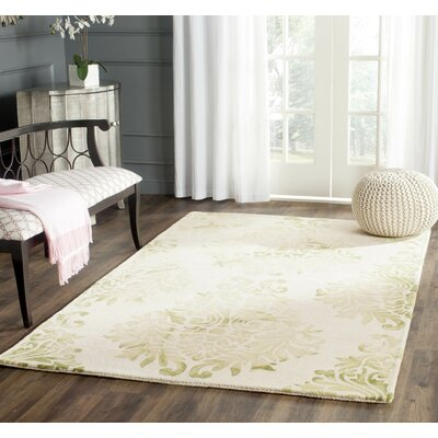 Dip Dye Hand-Woven Green/Ivory Area Rug Rug Size: Rectangle 4 x 6
