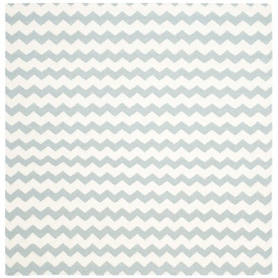 Dhurries Ivory/Blue Area Rug Rug Size: Square 6