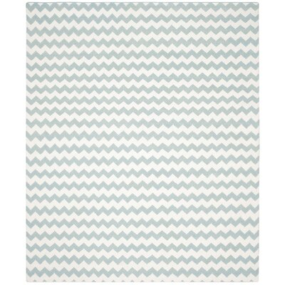 Dhurries Ivory/Blue Area Rug Rug Size: 8 x 10