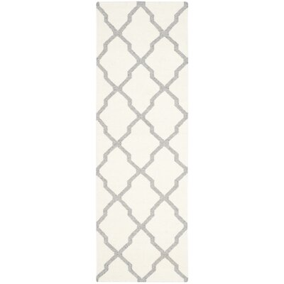 Dhurries Hand Woven Wool Ivory/Grey Area Rug Rug Size: Runner 26 x 8