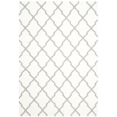 Dhurries Hand Woven Wool Ivory/Grey Area Rug Rug Size: Rectangle 4 x 6