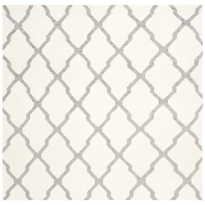 Dhurries Hand Woven Wool Ivory/Grey Area Rug Rug Size: Square 6
