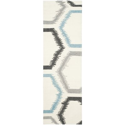 Dhurries Wool Ivory Area Rug Rug Size: Runner 26 x 8