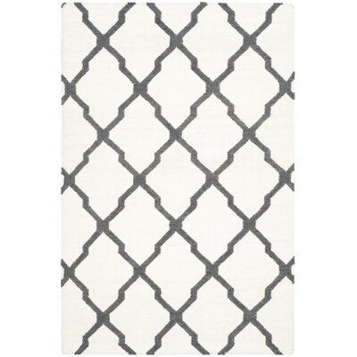 Dhurries Hand-Woven Wool Ivory/Charcoal Area Rug Rug Size: Rectangle 5 x 8