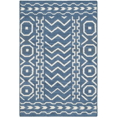 Dhurries Dark Blue/Ivory Area Rug Rug Size: 2'6
