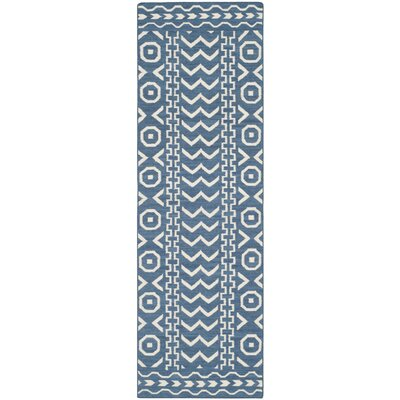 Dhurries Hand Woven Cotton Dark Blue/Ivory Area Rug Rug Size: Runner 26 x 12