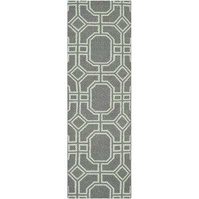 Dhurries Hand-Tufted Wool Gray/Ivory Area Rug Rug Size: Runner 26 x 8