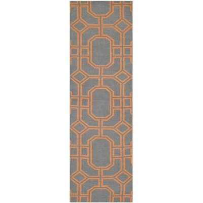 Dhurries Hand-Woven Wool Gray/Orange Area Rug Rug Size: Runner 26 x 8
