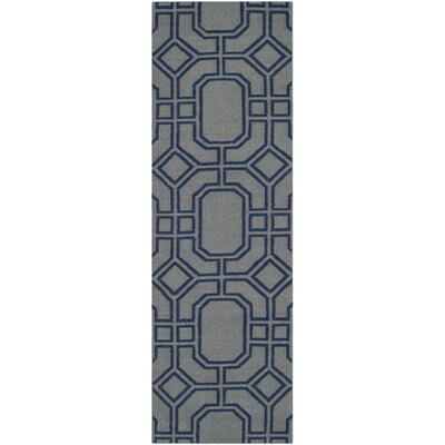 Dhurries Hand-Woven Wool Gray/Blue Area Rug Rug Size: Runner 26 x 8