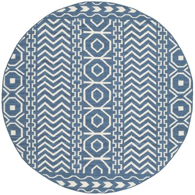 Dhurries Hand Woven Cotton Dark Blue/Ivory Area Rug Rug Size: Round 6