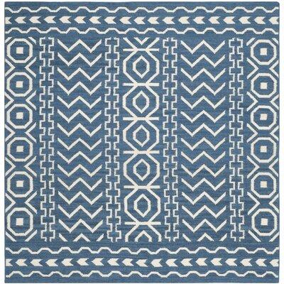 Dhurries Dark Blue/Ivory Area Rug Rug Size: Square 6