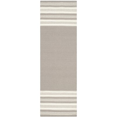 Dhurries Hand Woven Cotton Light Brown Area Rug Rug Size: Runner 26 x 8