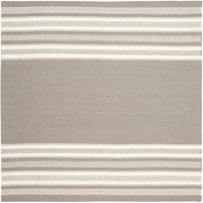 Dhurries Light Brown Area Rug Rug Size: Square 6
