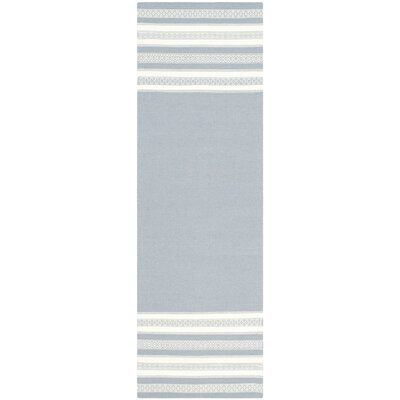 Dhurries Hand Woven Cotton Gray Area Rug Rug Size: Runner 26 x 8