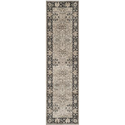Persian Garden Gray & Black Area Rug Rug Size: Runner 2'2
