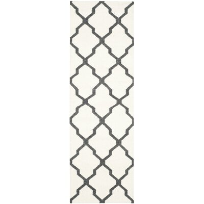 Dhurries Hand-Woven Wool Ivory/Charcoal Area Rug Rug Size: Runner 26 x 8