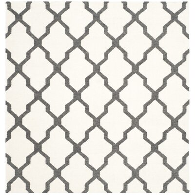 Dhurries Hand-Woven Wool Ivory/Charcoal Area Rug Rug Size: Square 6