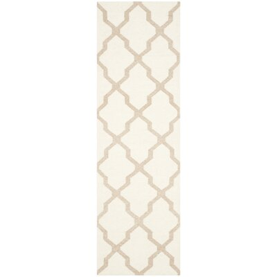 Dhurries Ivory/Camel Area Rug Rug Size: Runner 26 x 8