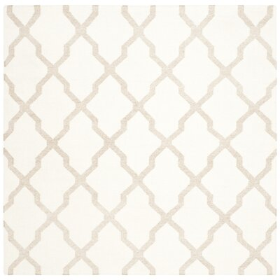 Dhurries Ivory/Camel Area Rug Rug Size: Square 6