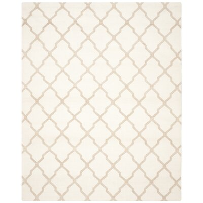 Dhurries Ivory/Camel Area Rug Rug Size: Rectangle 8 x 10