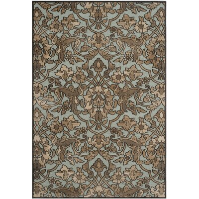 "Paradise Soft Anthracite / Anthracite Floral Plant Area Rug Rug Size: 5'3"" x 7'6"
