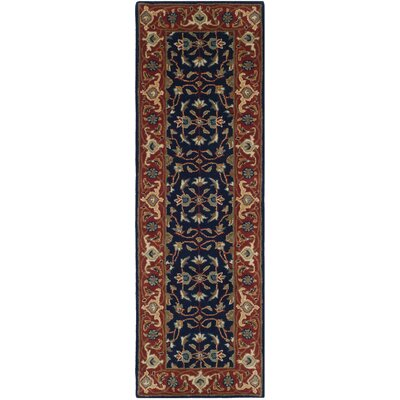 Royalty Navy/Rust Area Rug Rug Size: Runner 23 x 7