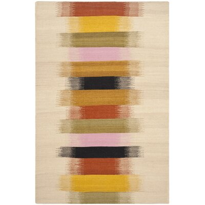 Dhurries Beige Area Rug Rug Size: 4 x 6