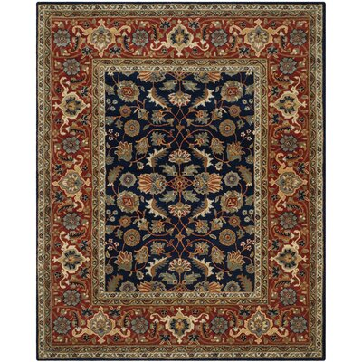 Royalty Navy/Rust Area Rug Rug Size: 4 x 6