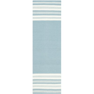 Dhurries Cotton Turquoise Area Rug Rug Size: Runner 26 x 8