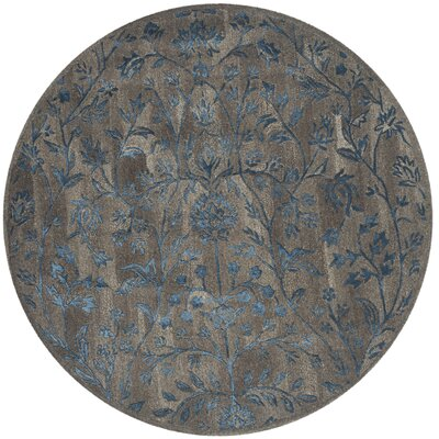 Sapphire Brown/Blue Area Rug Rug Size: Round 6