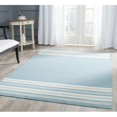 Dhurries Cotton Turquoise Area Rug Rug Size: Rectangle 6 x 9