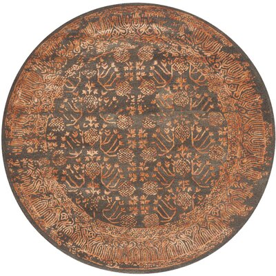 Sapphire Light Brown/Rust Area Rug Rug Size: Round 6