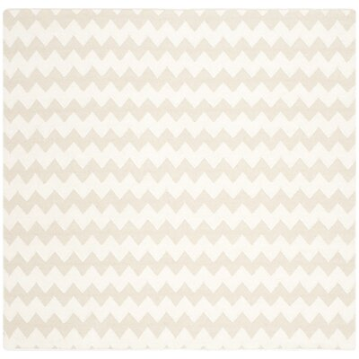 Dhurries Wool Beige/Ivory Area Rug Rug Size: Square 6