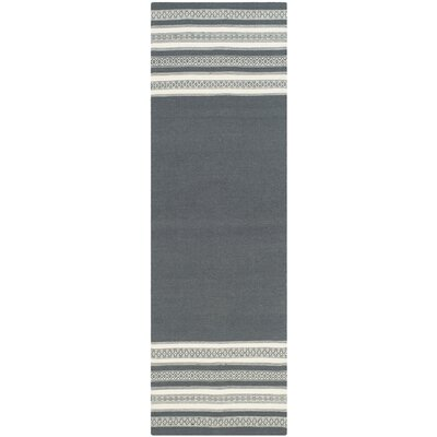 Dhurries Hand-Woven Dark Gray Area Rug Rug Size: Runner 2'6