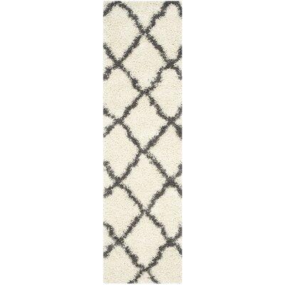 Charmain Ivory/Dark Gray Area Rug Rug Size: Runner 23 x 8