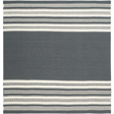 Dhurries Hand-Woven Dark Gray Area Rug Rug Size: Square 6