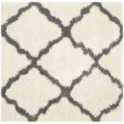 Charmain Ivory/Dark Gray Area Rug Rug Size: Square 6