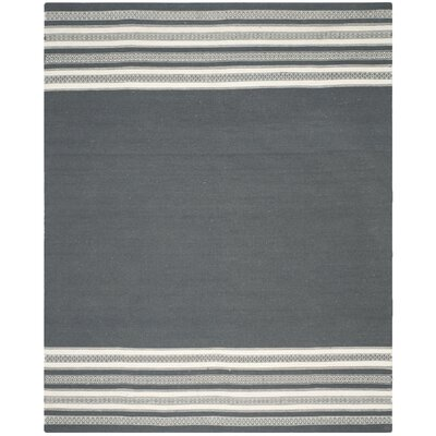 Dhurries Hand-Woven Dark Gray Area Rug Rug Size: Rectangle 4 x 6