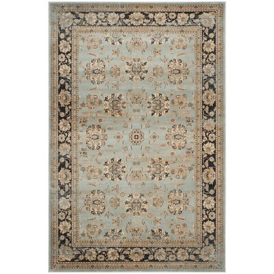 Vintage Light Blue/Black Area Rug Rug Size: 5'1