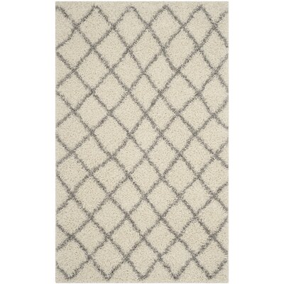Dallas Shag Ivory & Grey Area Rug Rug Size: 6' x 9'