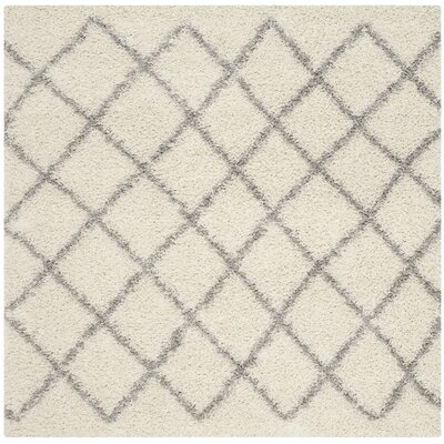 Dallas Shag Ivory & Grey Area Rug Rug Size: Square 6'