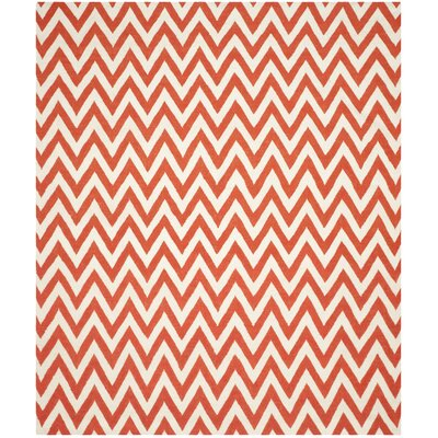 Dhurries Red/Ivory Area Rug Rug Size: 5 x 8
