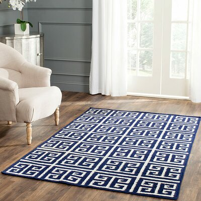 Dhurries Hand-Woven Wool Navy/Ivory Area Rug Rug Size: Rectangle 9 x 12
