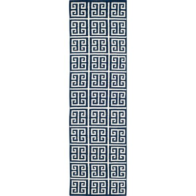 Dhurries Hand-Woven Wool Navy/Ivory Area Rug Rug Size: Runner 26 x 9