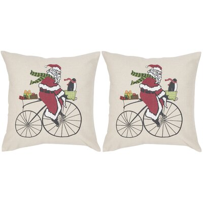 Santa Cycles Throw Pillow