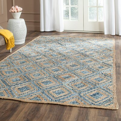 Gilchrist Traditional Hand-Woven Natural/Blue Area Rug Rug Size: Round 8
