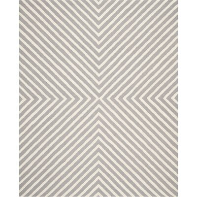 Ordingen Hand-Tufted Wool Silver/Ivory Area Rug Rug Size: Rectangle 9 x 12