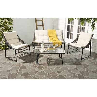 4 Piece Breanna Patio Group Set with Cushion Finish: Brown, Fabric: Beige