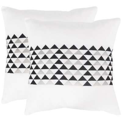 Geo Linen Throw Pillow Color: Slate